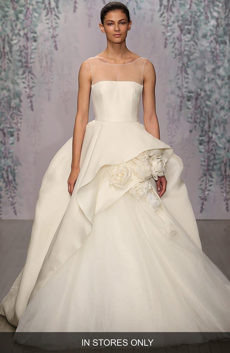 MONIQUE LHUILLIER Rosette Detail Silk Ballgown Dress, Main, color, IVORY