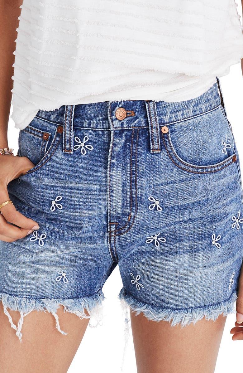 65a554f122a1 Madewell Perfect Daisy Embroidered High Waist Denim Shorts (Aberdeen ...