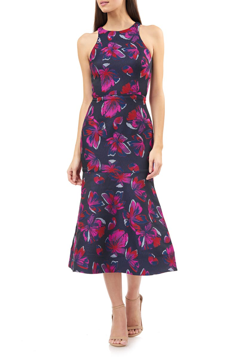 JS COLLECTIONS Halter Dress, Main, color, NAVY FUSCHIA