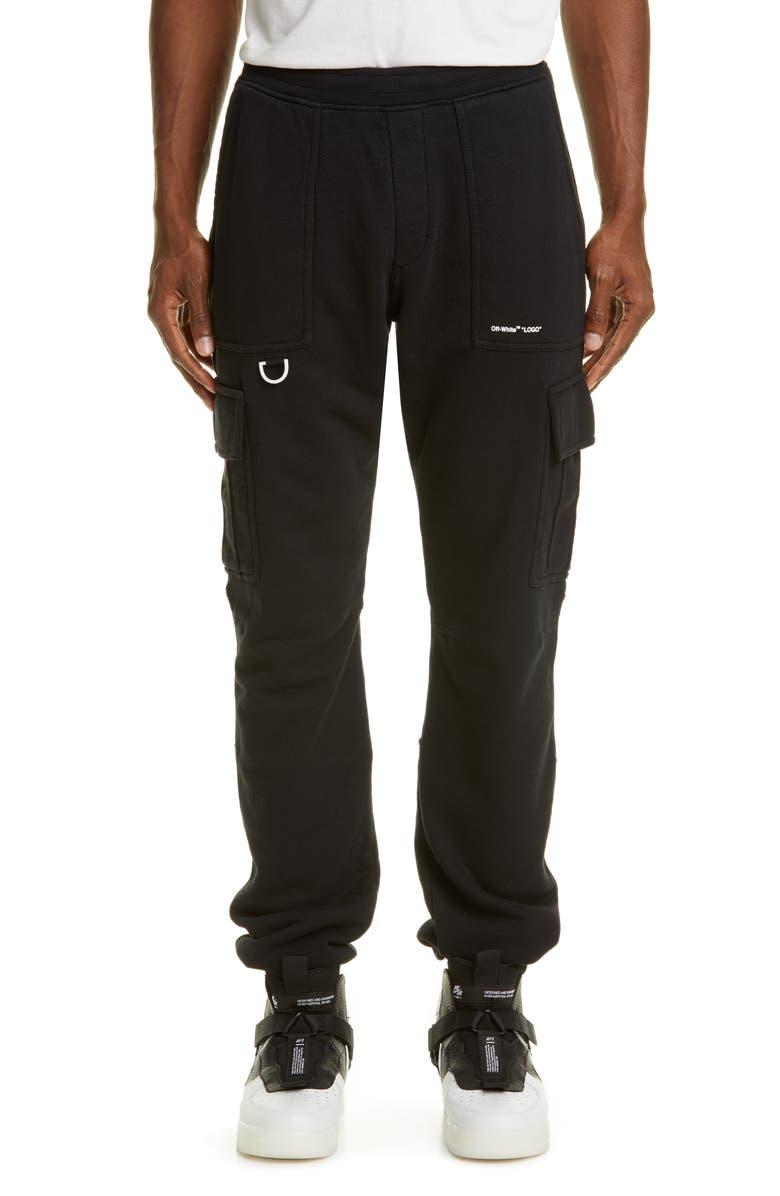 OFF-WHITE Logo Cargo Sweatpants, Main, color, BLACK WHITE