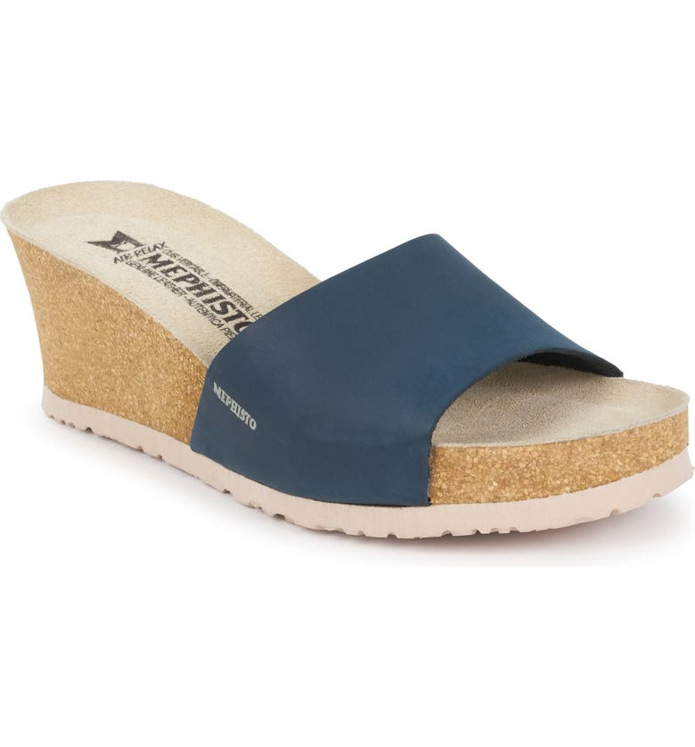 MEPHISTO Lise Platform Wedge Sandal, Main, color, NAVY NUBUCK
