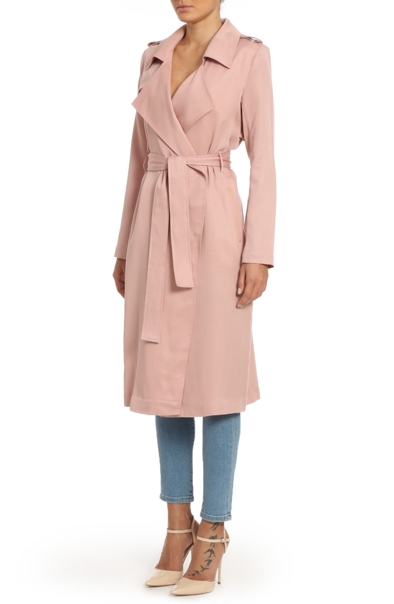 ,                             Badgley Mischka Faux Leather Trim Long Trench Coat,                             Alternate thumbnail 39, color,                             656