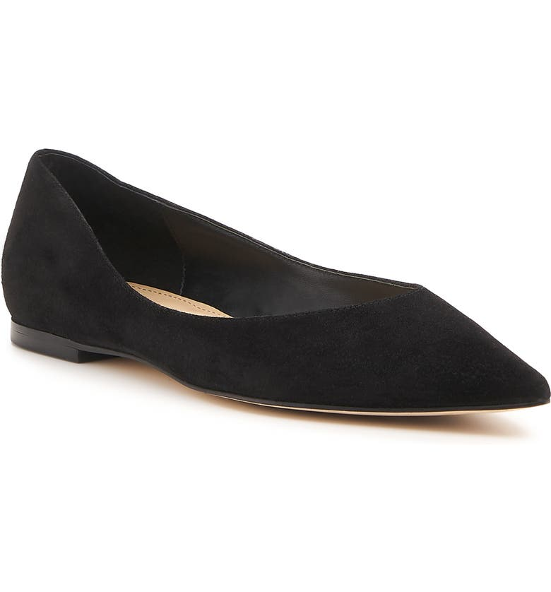 BOTKIER Annika Pointy Toe Flat, Main, color, BLACK SUEDE
