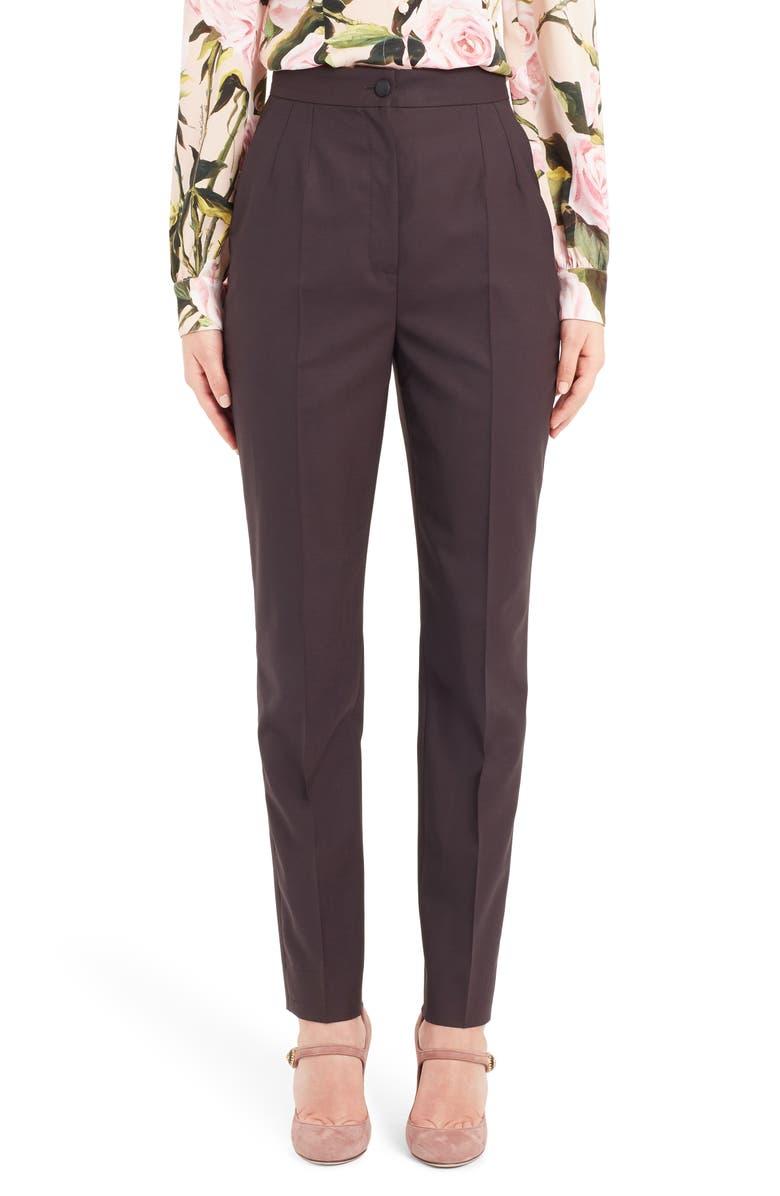 DOLCE&GABBANA Stretch Wool Skinny Pants, Main, color, 510