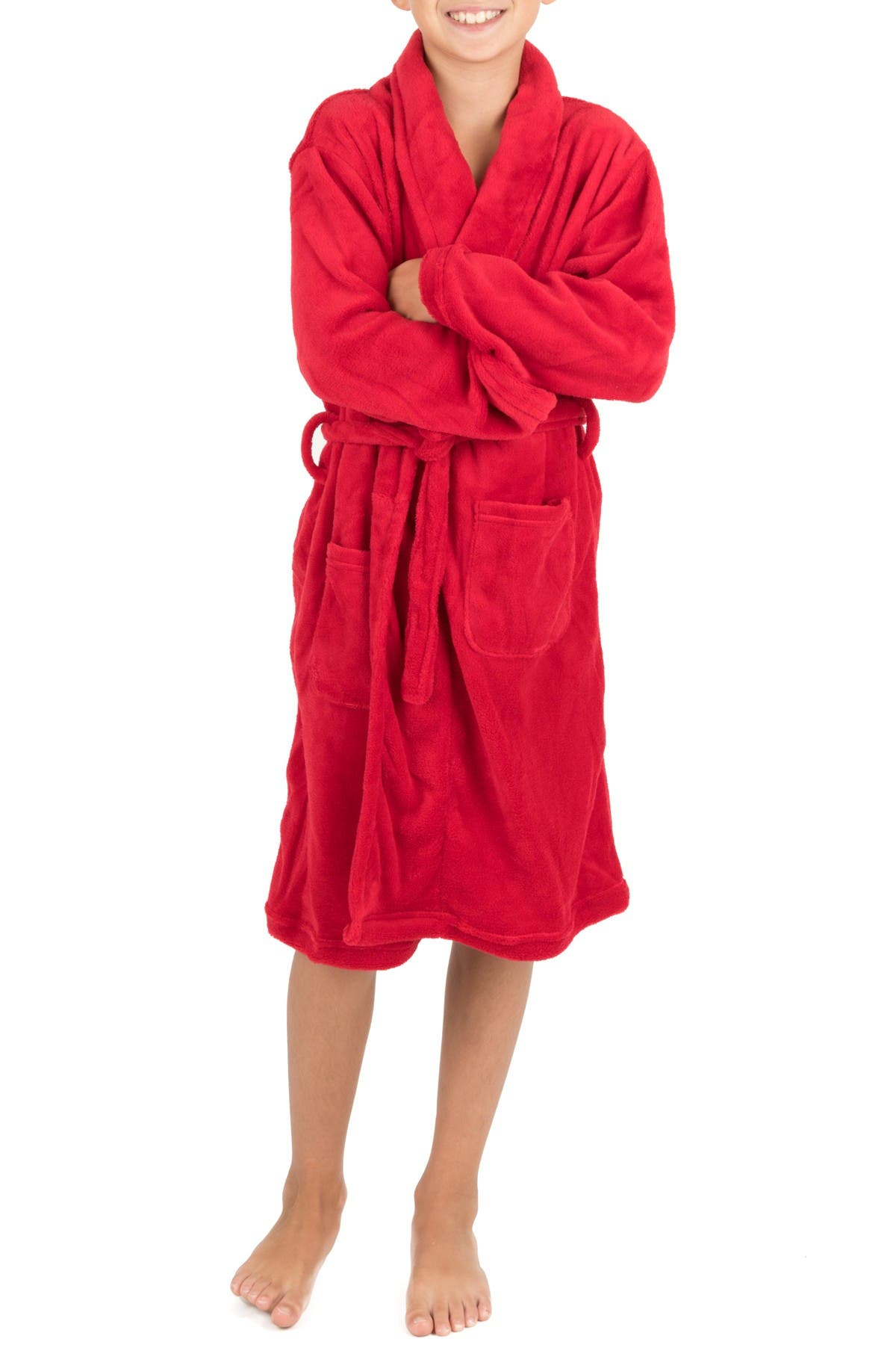 Image of Leveret Red Shawl Collar Fleece Robe