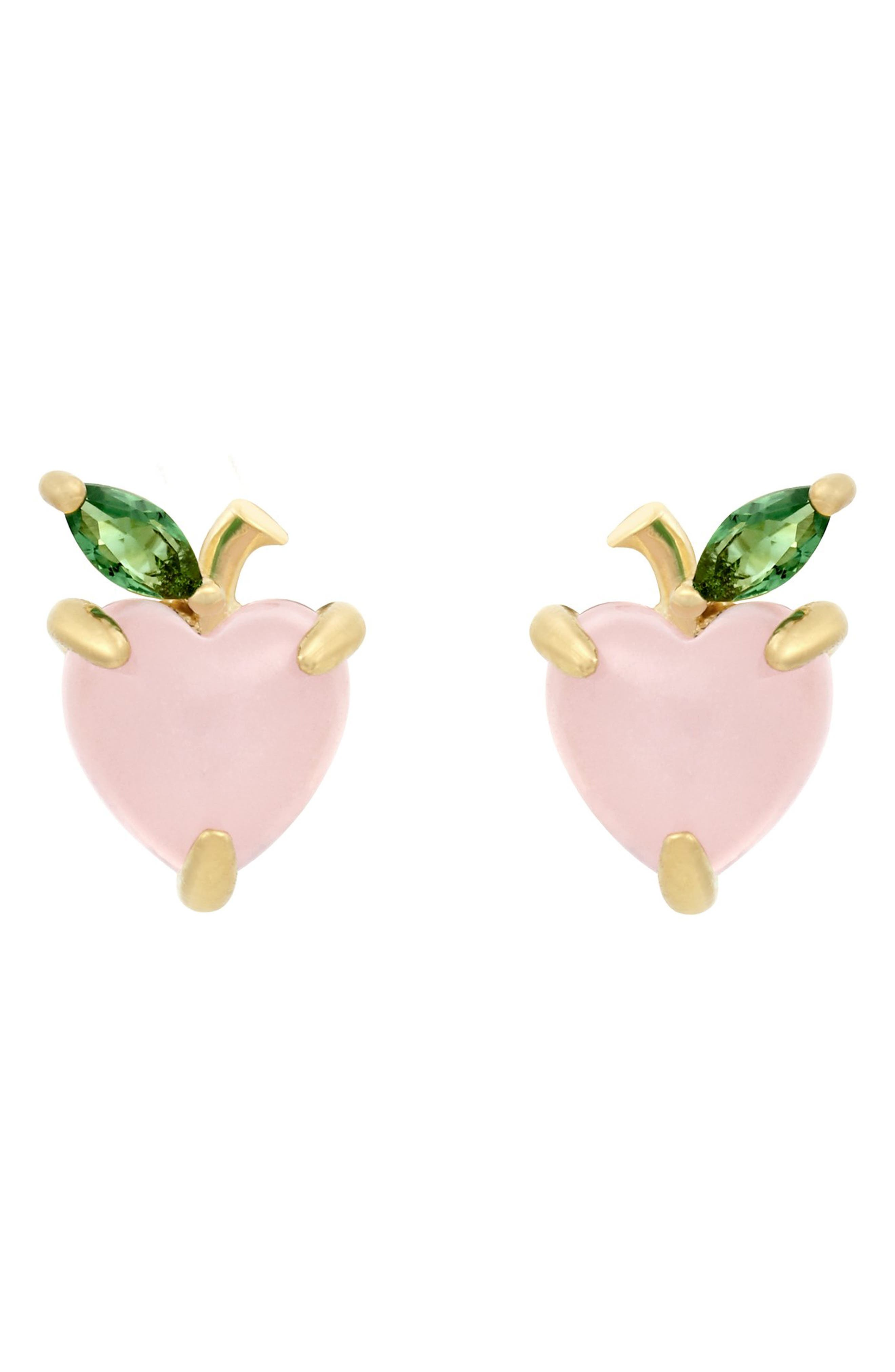 Women's Girls Club Peach Stud Earrings