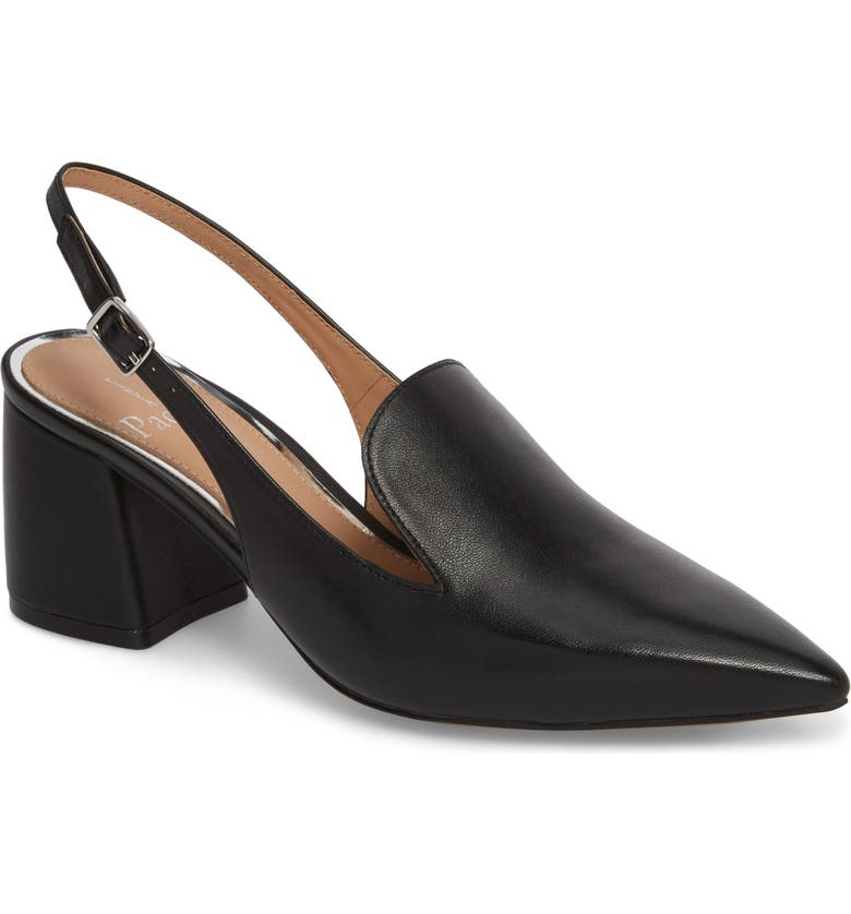 LINEA PAOLO Carly Slingback Pump, Main, color, BLACK LEATHER
