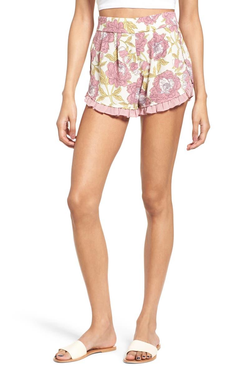 LEITH Ruffle Trim Floral Shorts, Main, color, 270