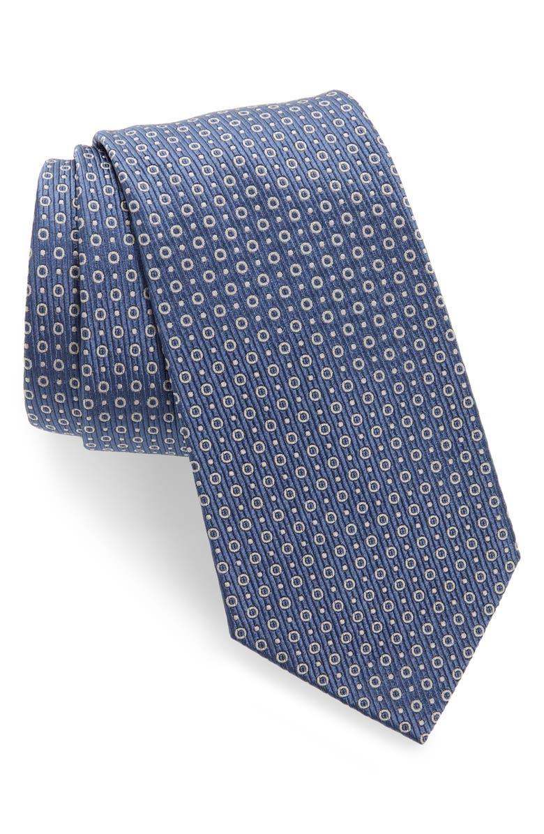 EMPORIO ARMANI Dot Silk Blend Tie, Main, color, SMOKEY BLUE