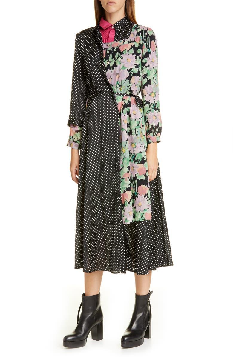 JUNYA WATANABE Mixed Media Long Sleeve Midi Shirtdress, Main, color, BLACK/ BEIGE BLACK/ POLKA DOT