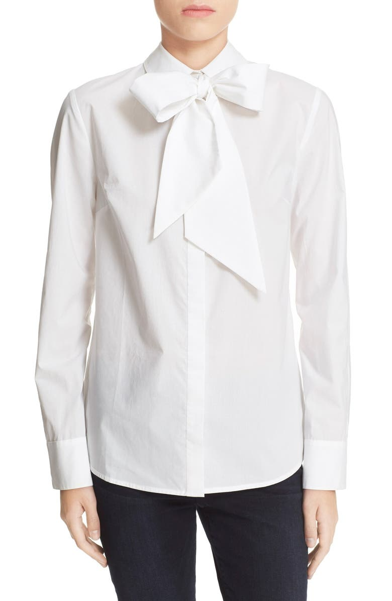 FRAME 'Le Bowtie' Removable Tie Cotton Poplin Blouse, Main, color, 100