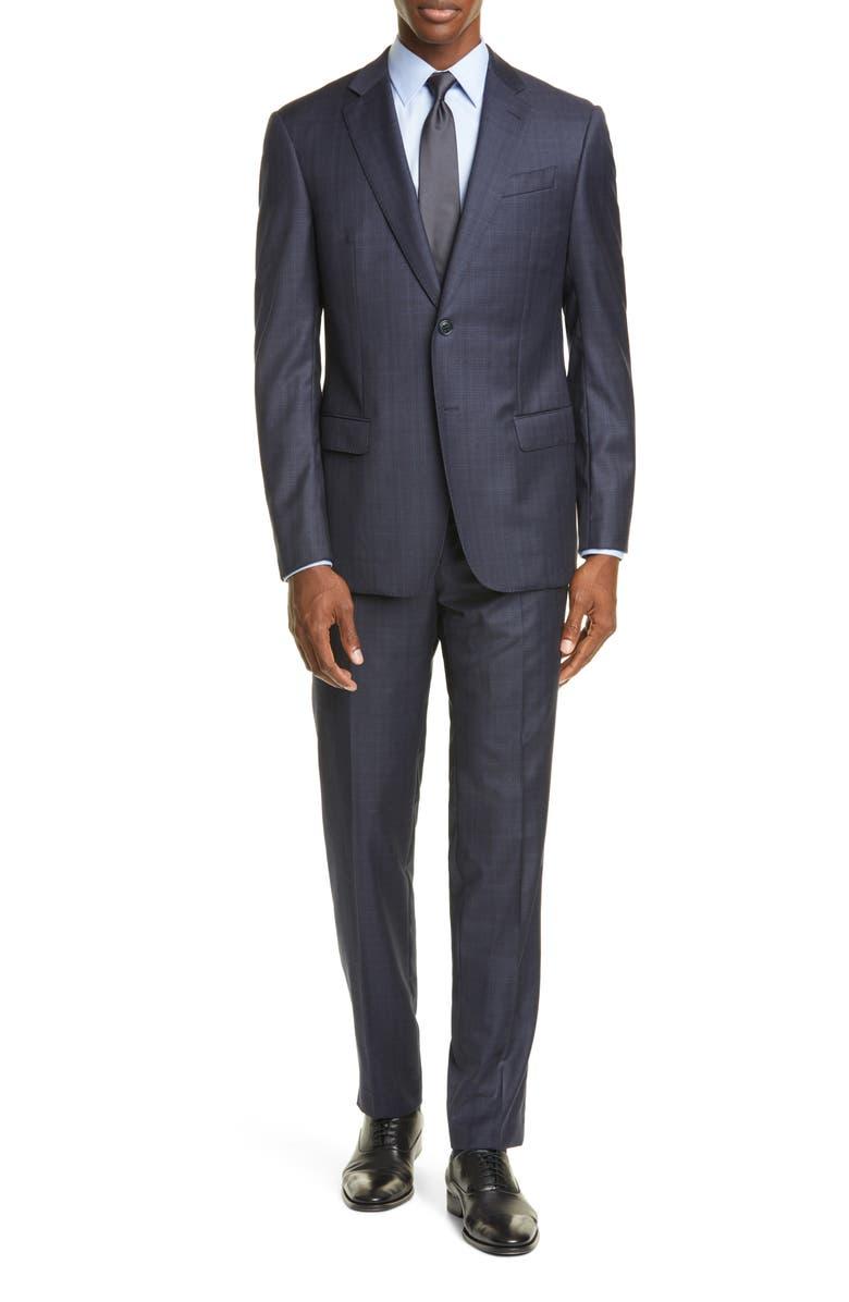 EMPORIO ARMANI Trim Fit Plaid Wool Suit, Main, color, BLUE