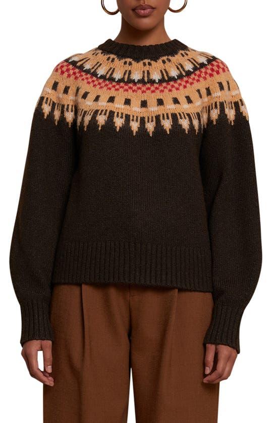 A.l.c Wool/silk Fair Isle Pullover Sweater In Ebano Multi