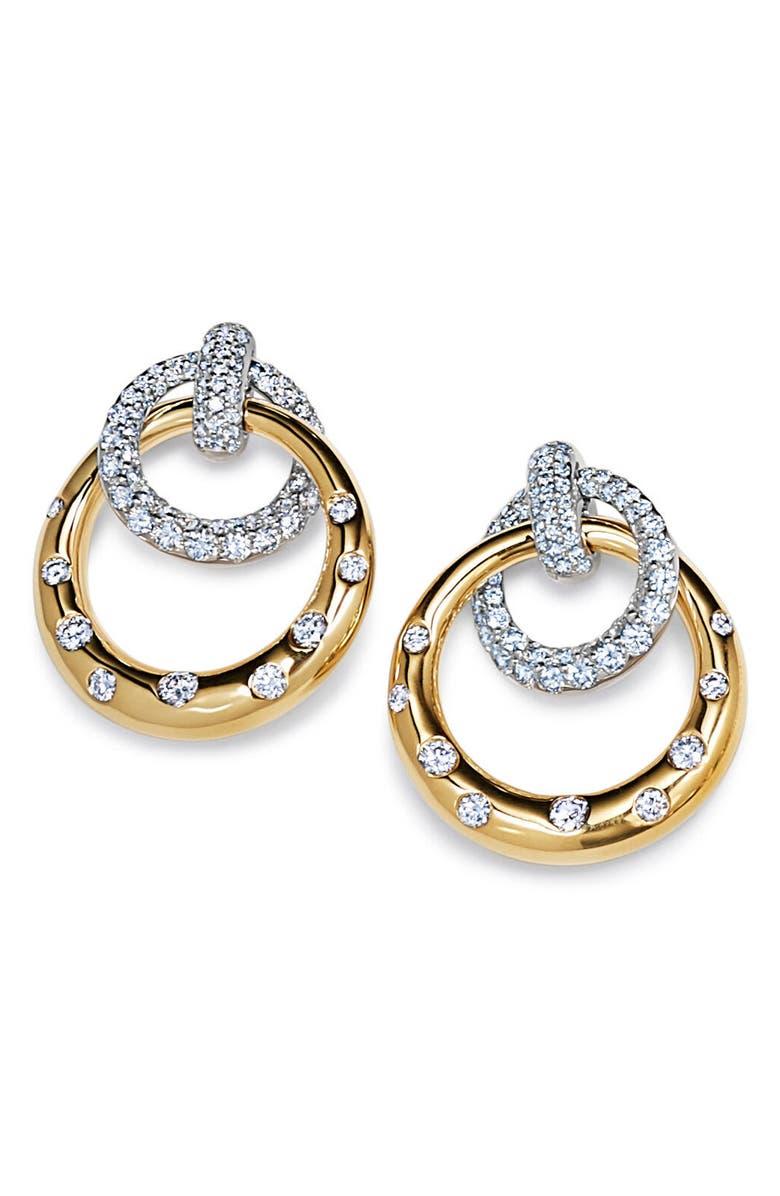 KWIAT Cobblestone Pavé Diamond Drop Earrings, Main, color, YELLOW GOLD/ WHITE GOLD