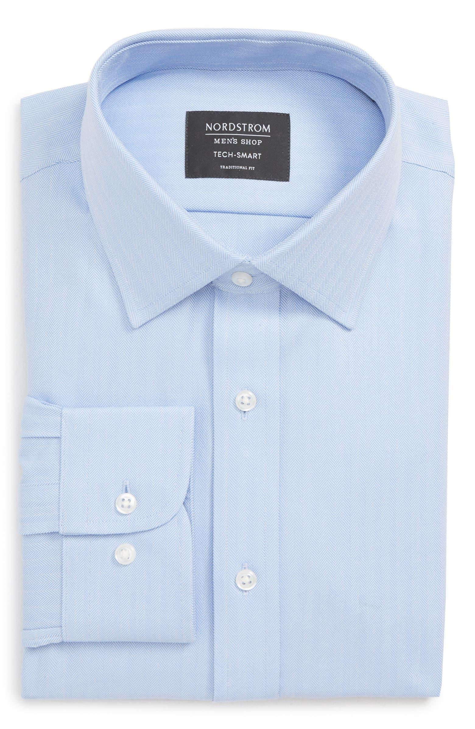 Tech-Smart Traditional Fit Stretch Herringbone Dress Shirt NORDSTROM MEN'S SHOP