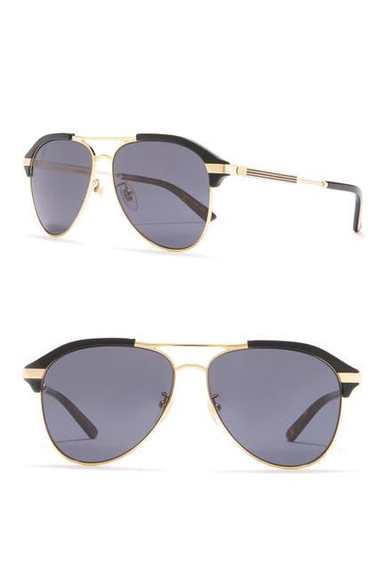 Image of GUCCI 60mm Aviator Sunglasses