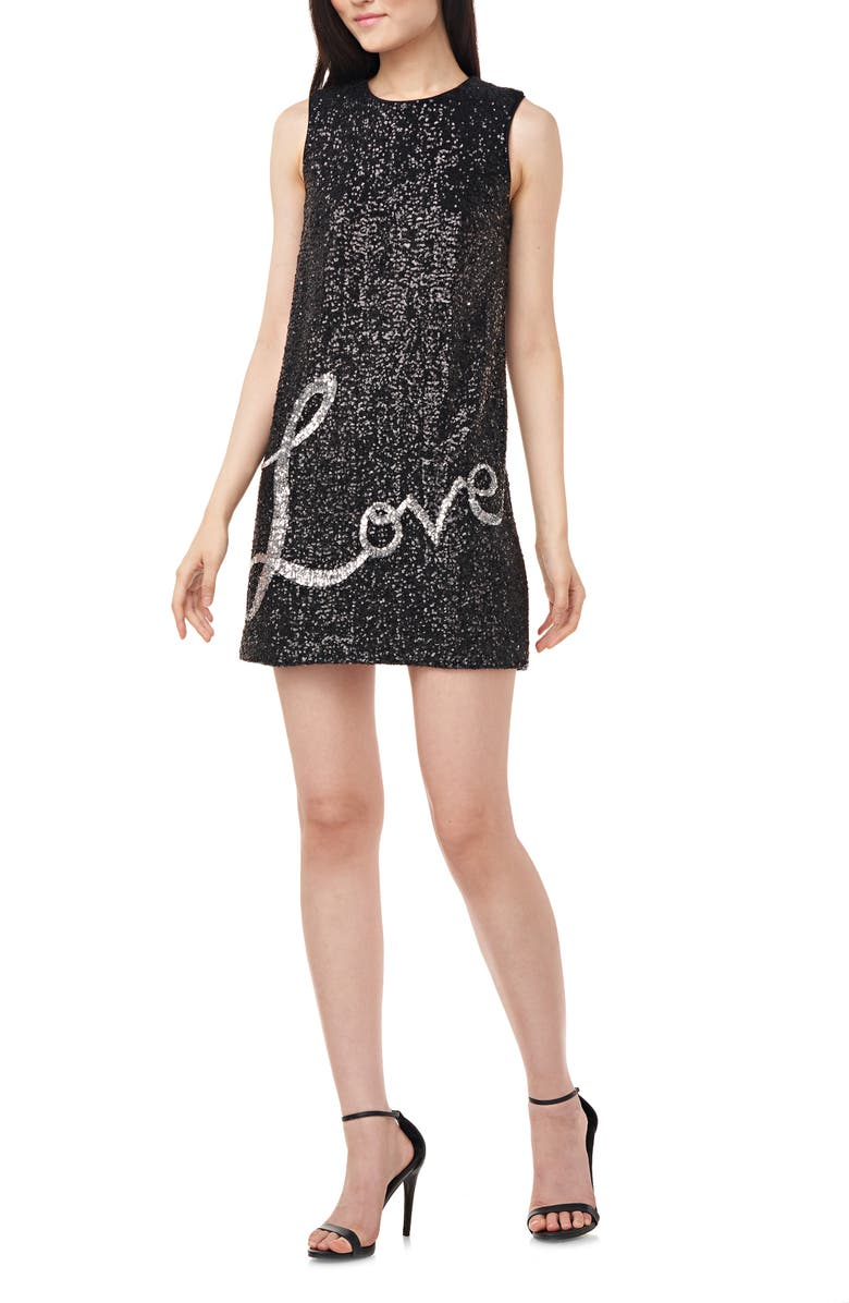 LOVE BY THEIA Love Sequin Minidress, Main, color, BLACK