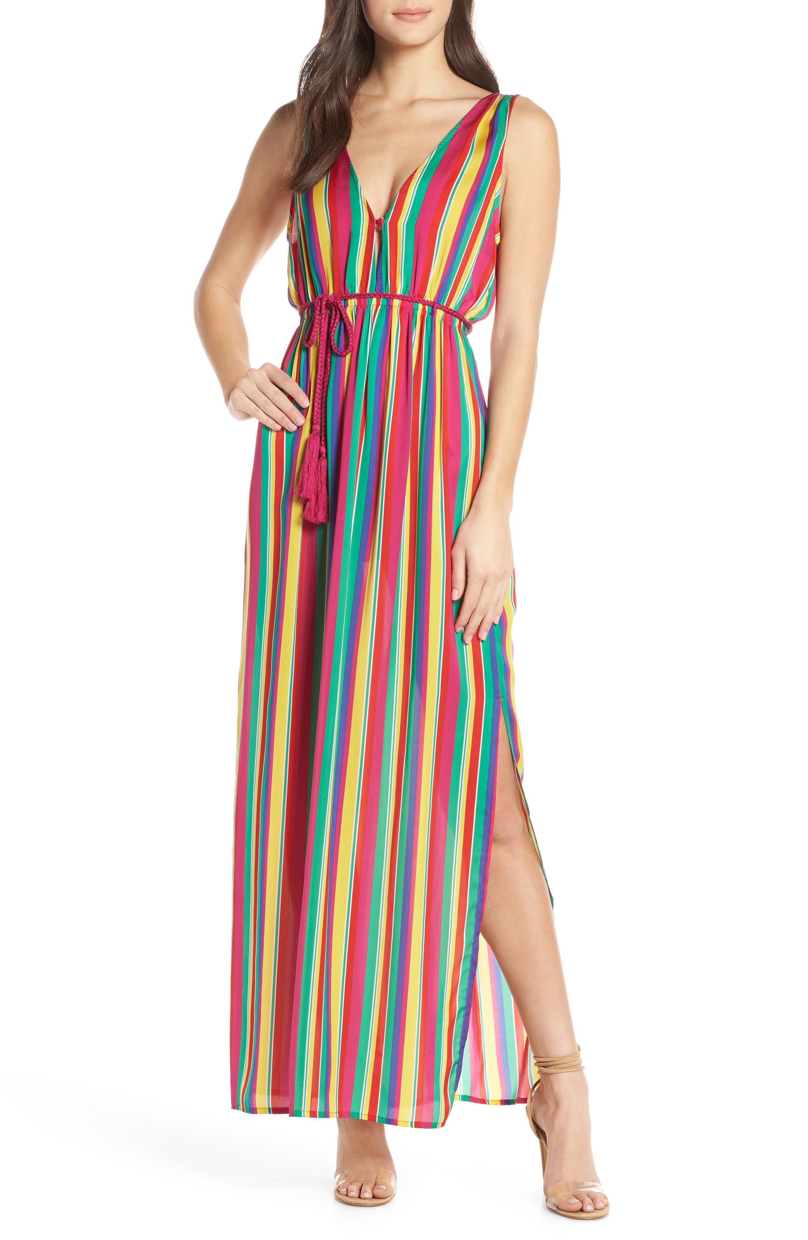 Bb Dakota N The Rainbows Stripe Maxi Dress, Pink