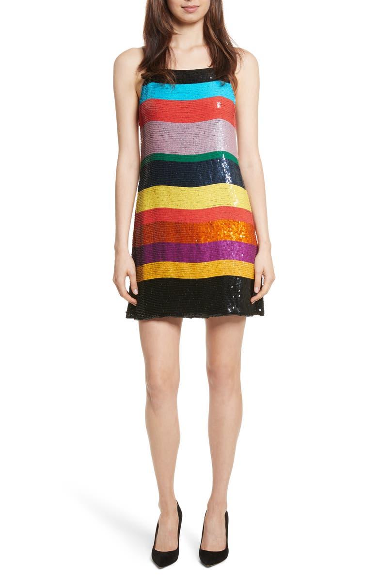 ALICE + OLIVIA Bridget Striped Sequin Slipdress, Main, color, 006