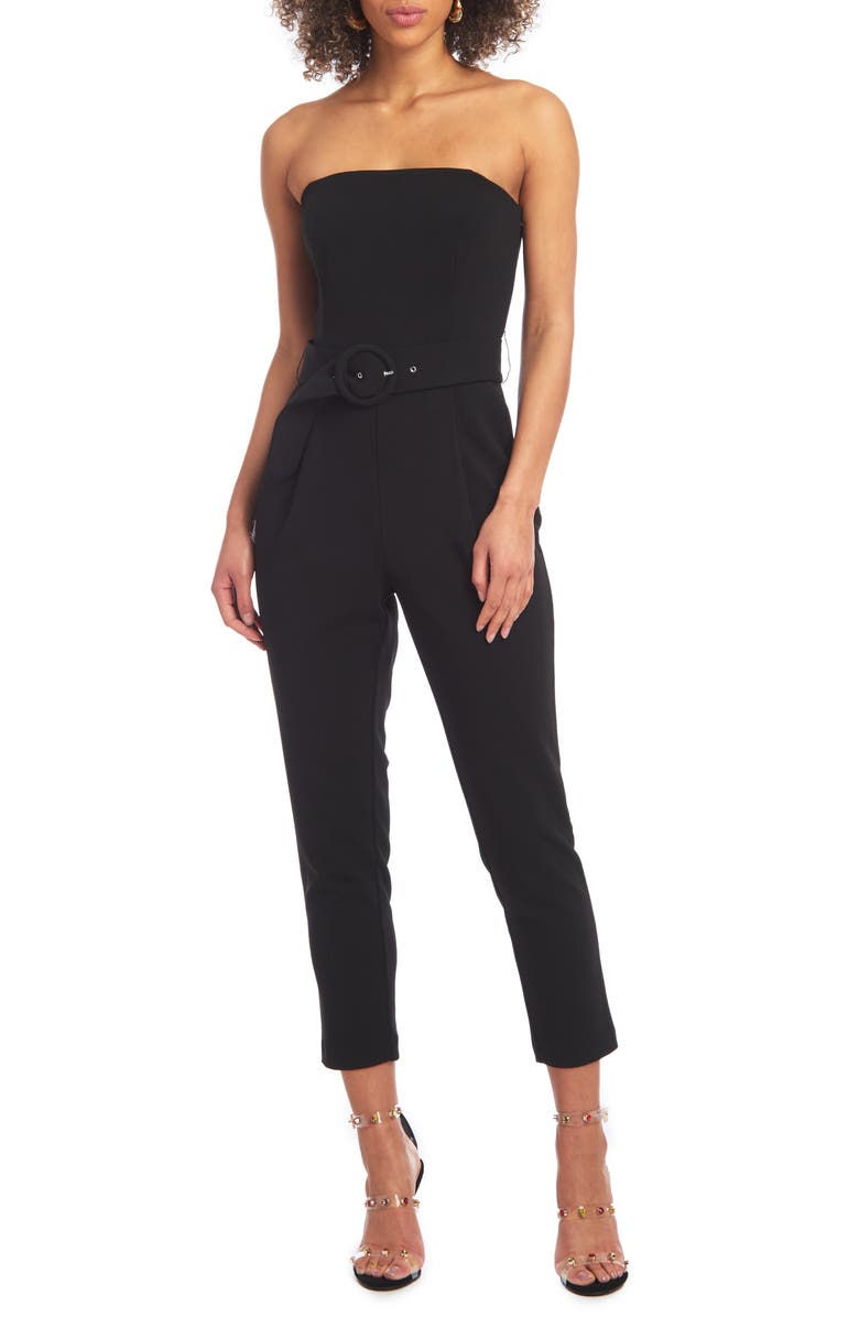 CHRISTIAN SIRIANO Strapless Belted Scuba Crepe Jumpsuit, Main, color, BLACK