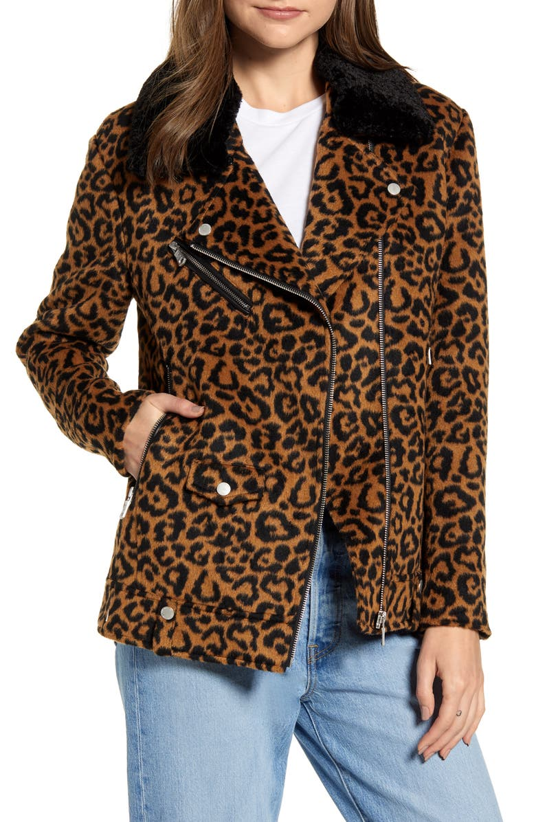 AVEC LES FILLES Leopard Print Wool Jacket with Faux Shearling Collar, Main, color, 200