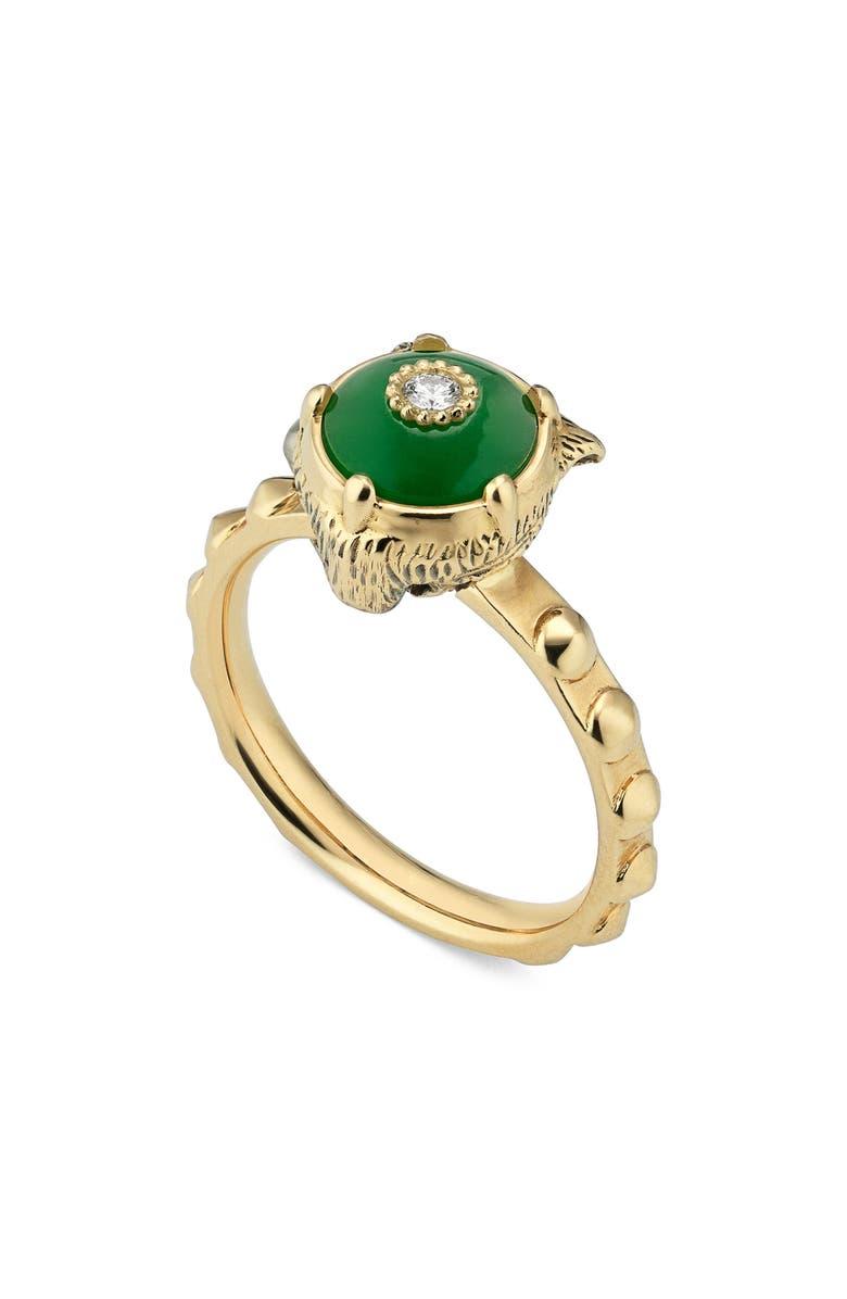GUCCI Le Marché des Merveilles Feline Head Ring, Main, color, YELLOW GOLD/ GREEN JADE