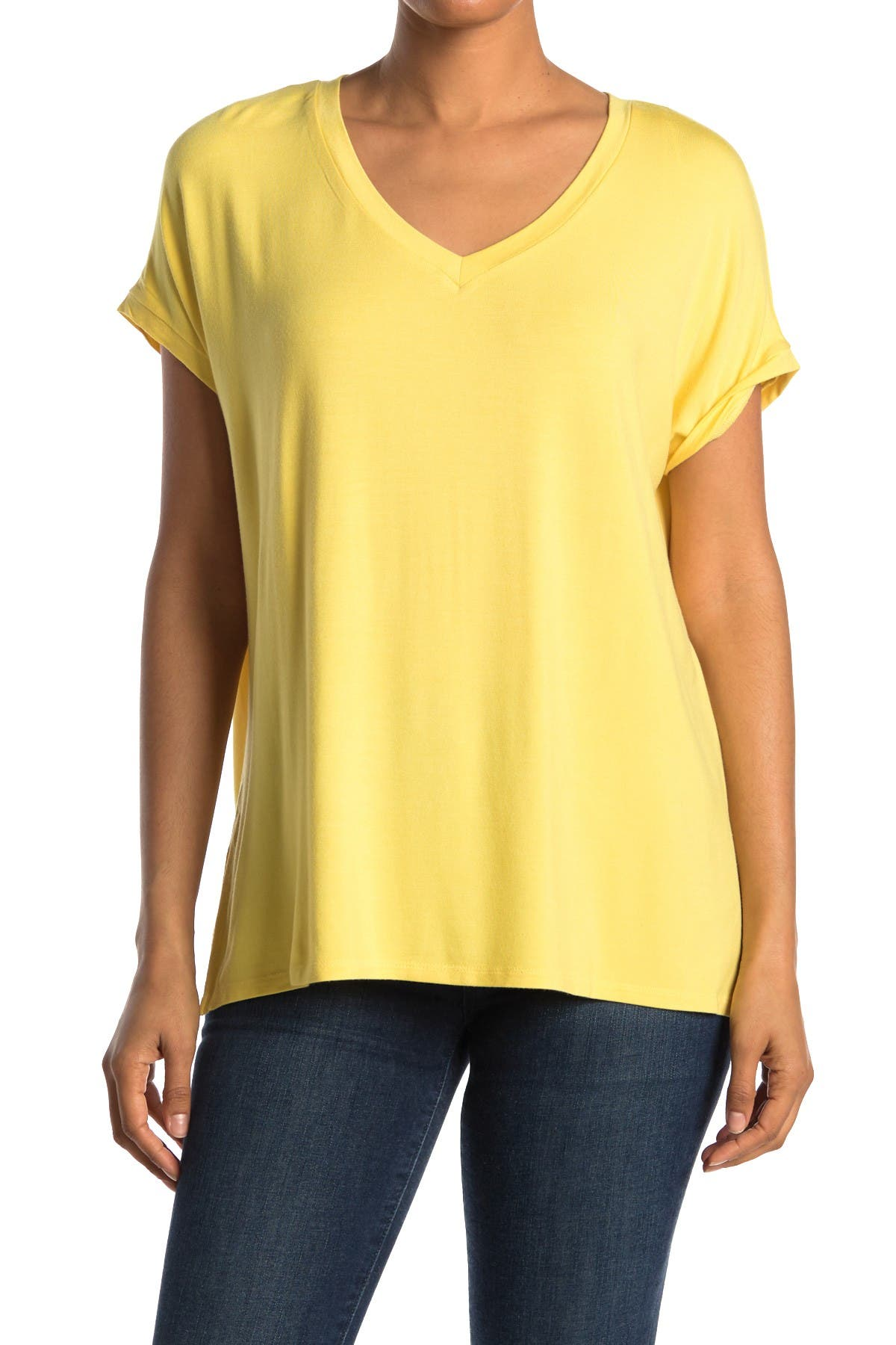 Image of M Magaschoni Dolman Sleeve Side Vent V-Neck Shirt