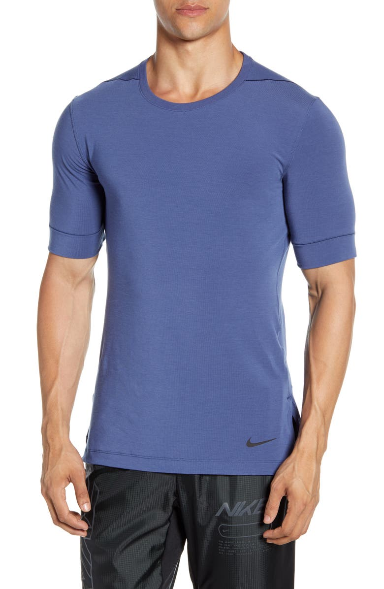 NIKE Dri-FIT Transcend Yoga T-Shirt, Main, color, MIDNIGHT NAVY/ SANDED PURPLE