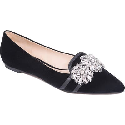 Badgley Mischka Echo Embellished Loafer Flat, Black