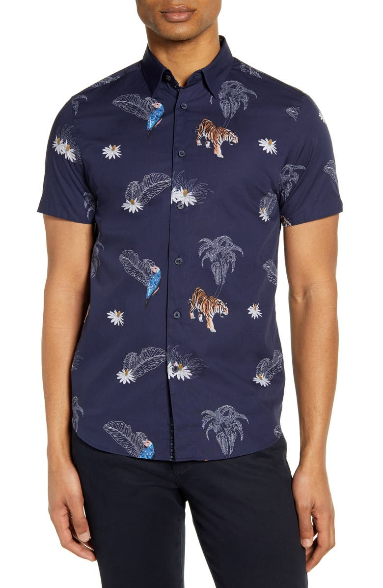 TED BAKER LONDON Bold Animal Print Slim Fit Short Sleeve Button-Up Shirt, Main, color, NAVY