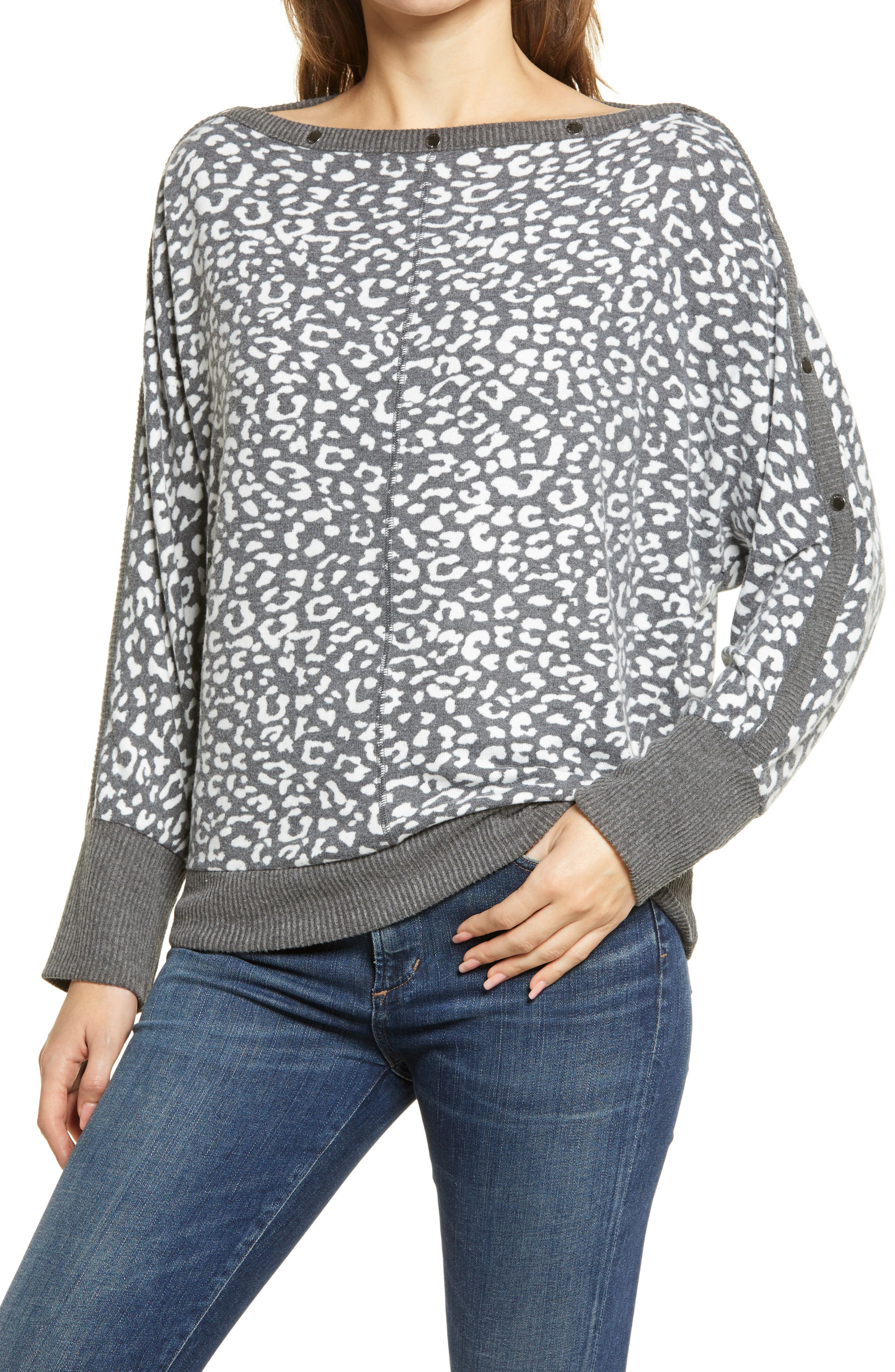 Vince Camuto Snap Trim Dolman Sleeve Sweater | Nordstrom