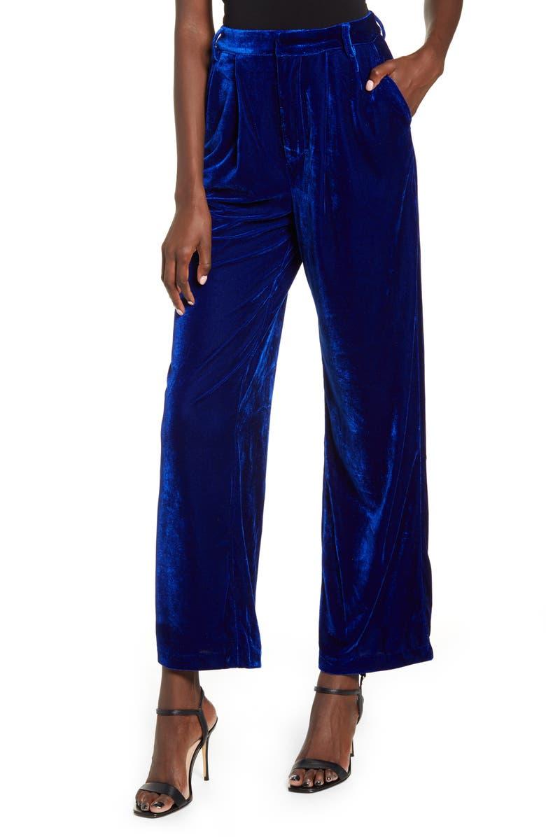 ENDLESS ROSE Velvet Wide Leg Pants, Main, color, BLUE