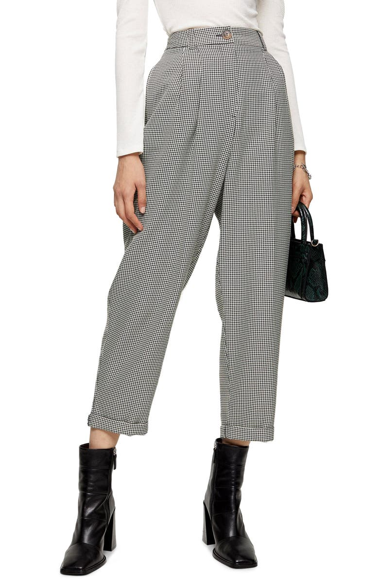 TOPSHOP Houndstooth Crop Trousers, Main, color, BLACK MULTI