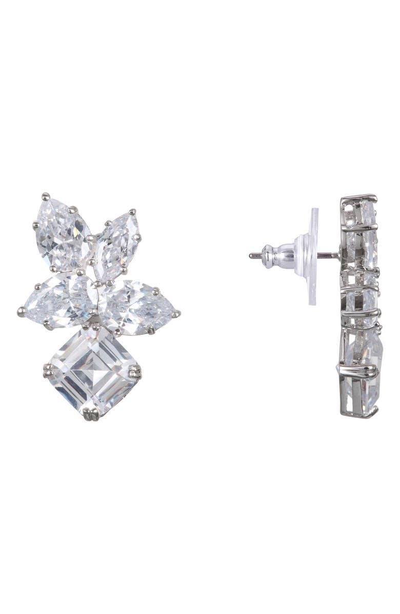 NINA Cubic Zirconia Cluster Stud Earrings, Main, color, RHODIUM/ WHITE