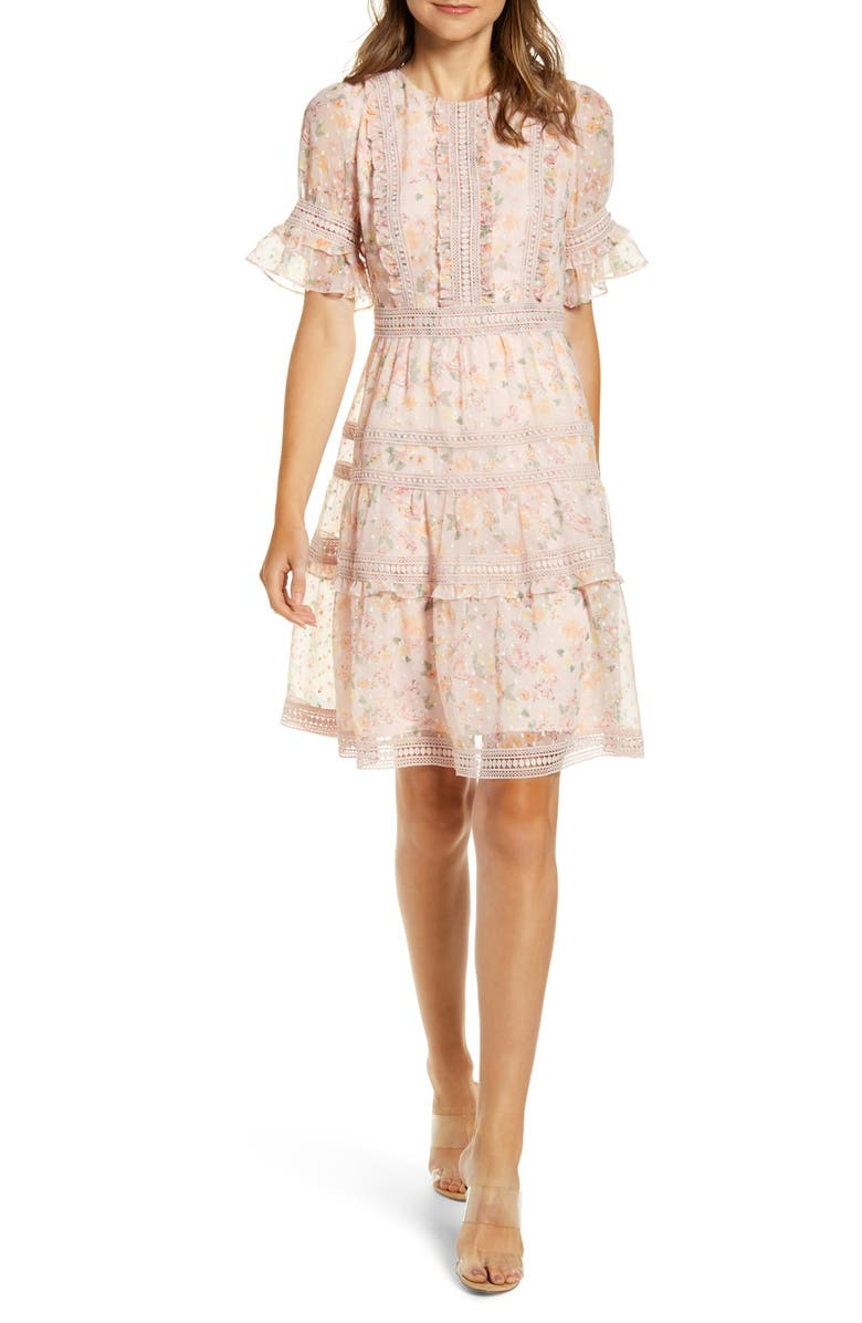 RACHEL PARCELL Mixed Lace Fit & Flare Dress, Main, color, MAUVE CHALK RIVIERA FLORAL