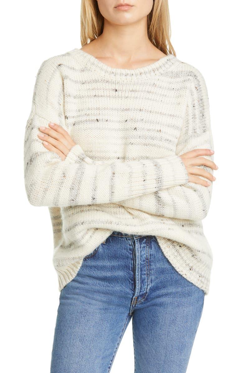 LA LIGNE Organic Stripe Sweater, Main, color, CREAM