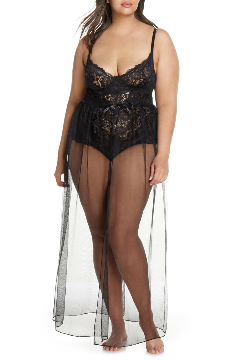 OH LA LA CHERI Jeana Lace Underwire Bodysuit with Sheer Mesh Skirt, Main, color, 001