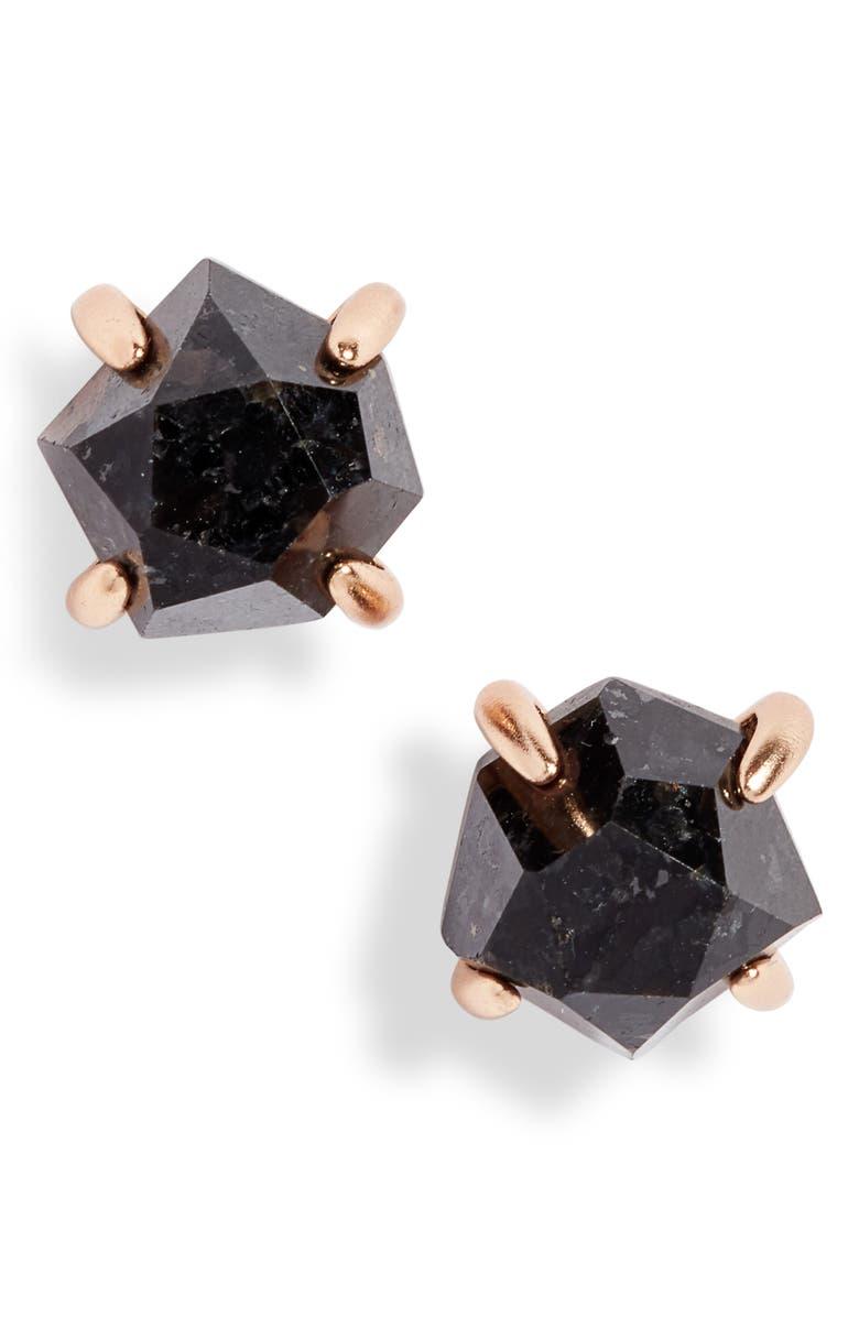 KENDRA SCOTT Ellms Small Stud Earrings, Main, color, ROSE GOLD/ BLACK GRANITE