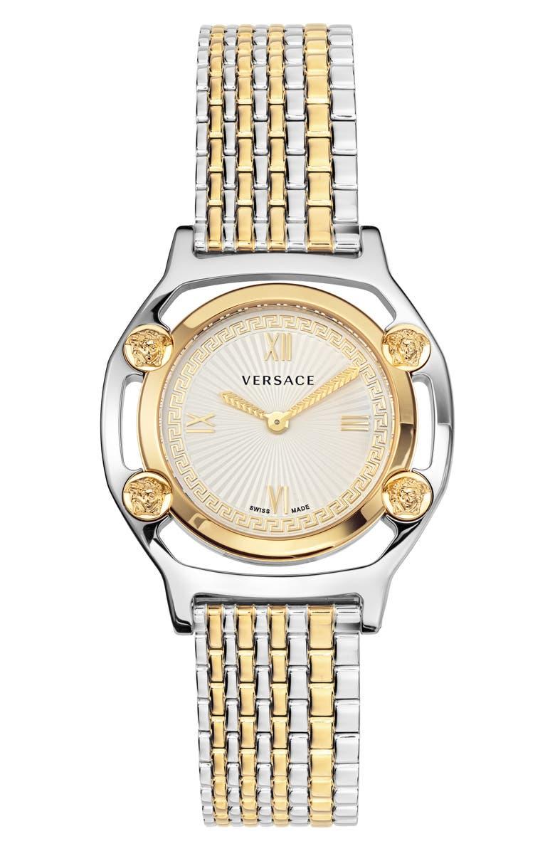 VERSACE Medusa Frame Bracelet Watch, 36mm, Main, color, GOLD/ SILVER/ GOLD