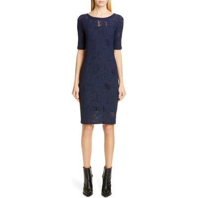 Fuzzi Short Sleeve Lace Dress, Blue