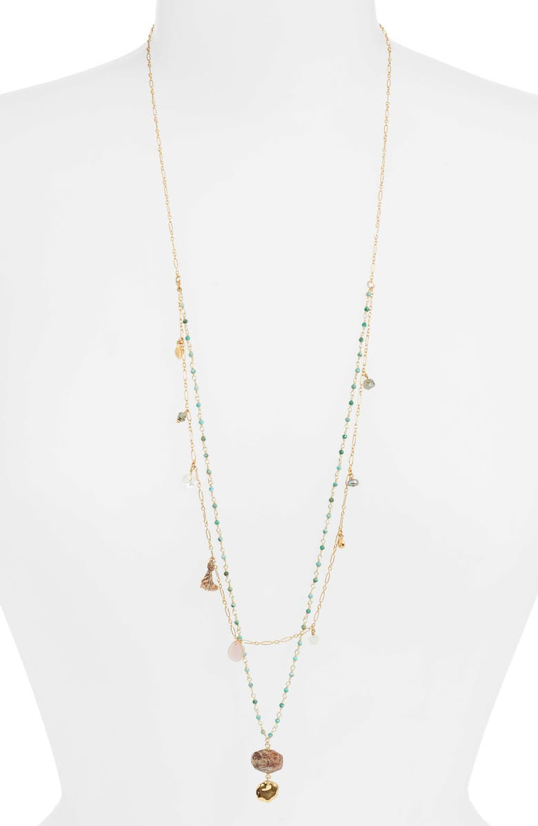 CHAN LUU Layered Pendant Necklace, Main, color, TURQUOISE