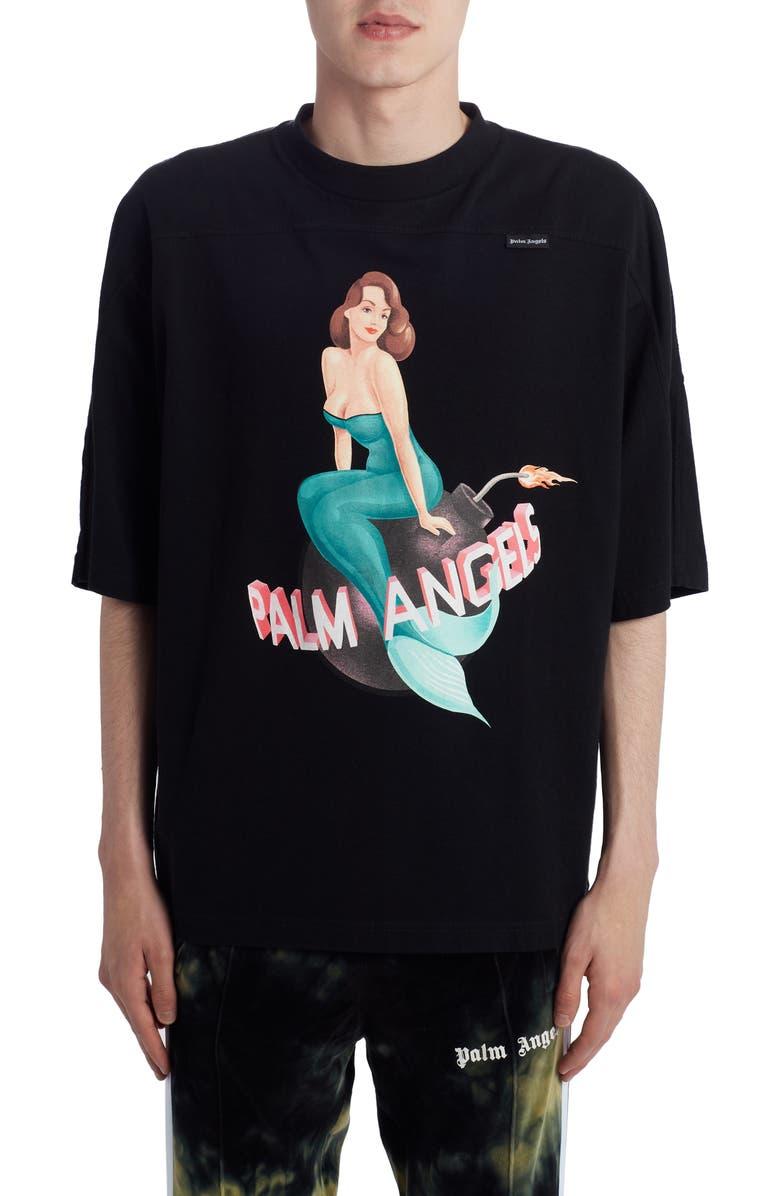 PALM ANGELS Logo Mermaid Graphic T-Shirt, Main, color, 001