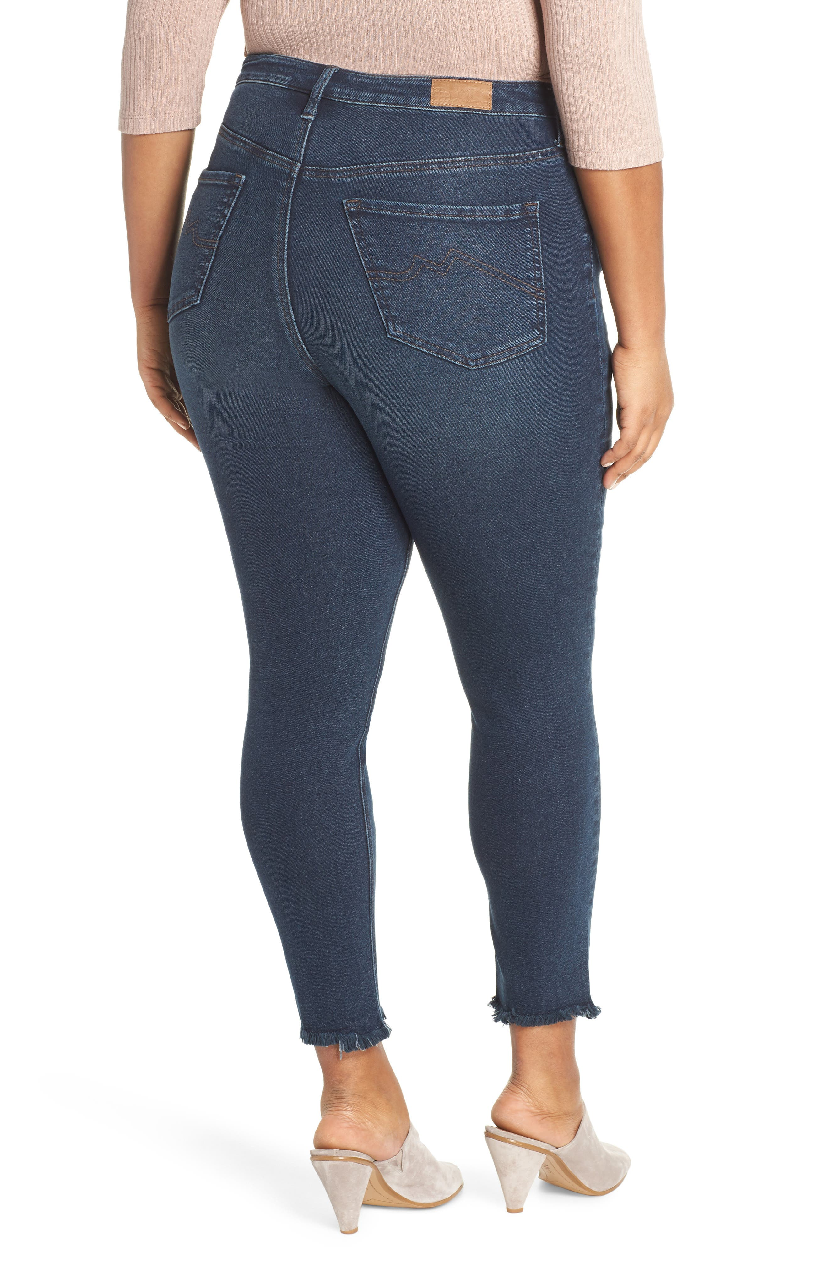 ,                             Perfect Vintage High Waist Core Fringe Hem Skinny Jeans,                             Alternate thumbnail 2, color,                             WINSTON