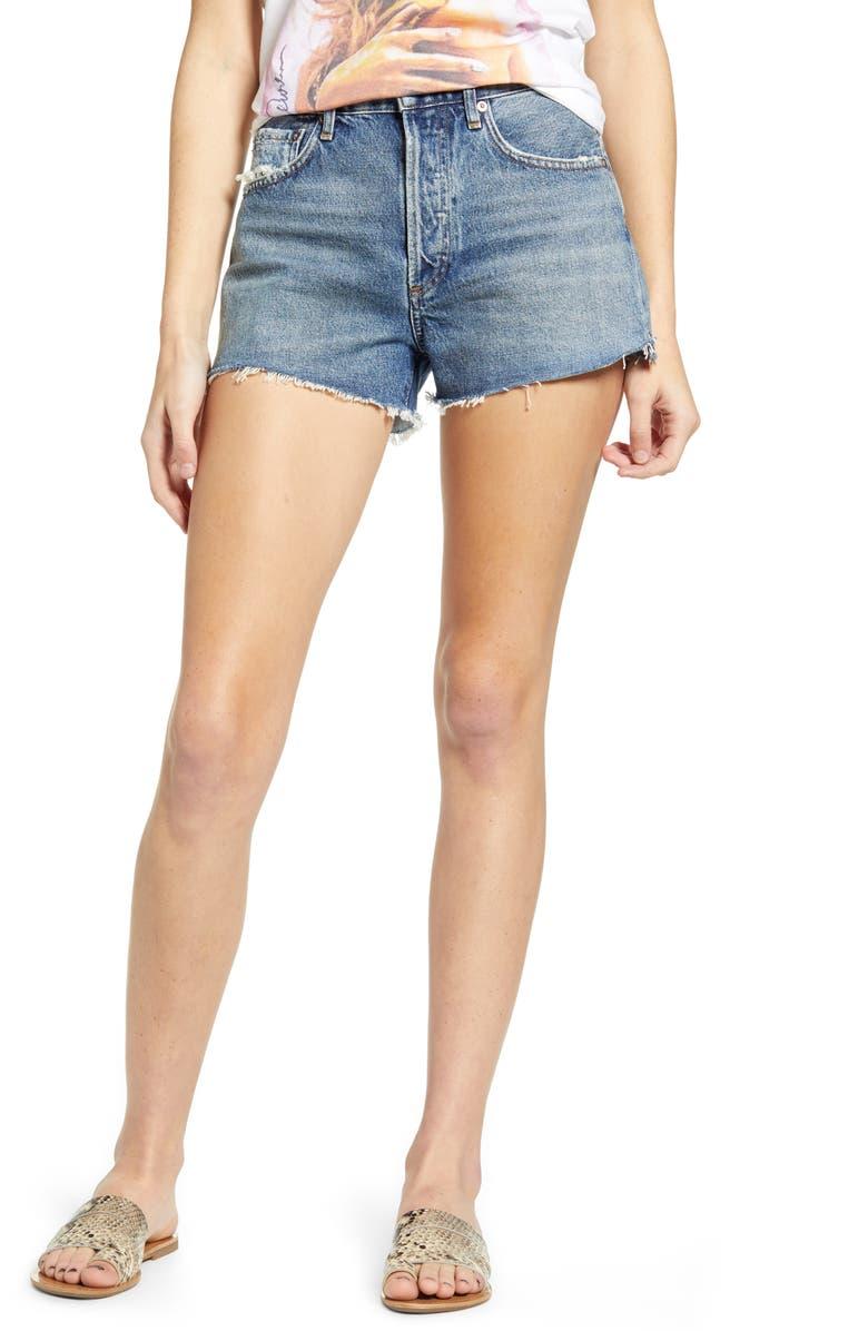 AGOLDE Parker Organic Cotton Cutoff Denim Shorts, Main, color, LOWKEY