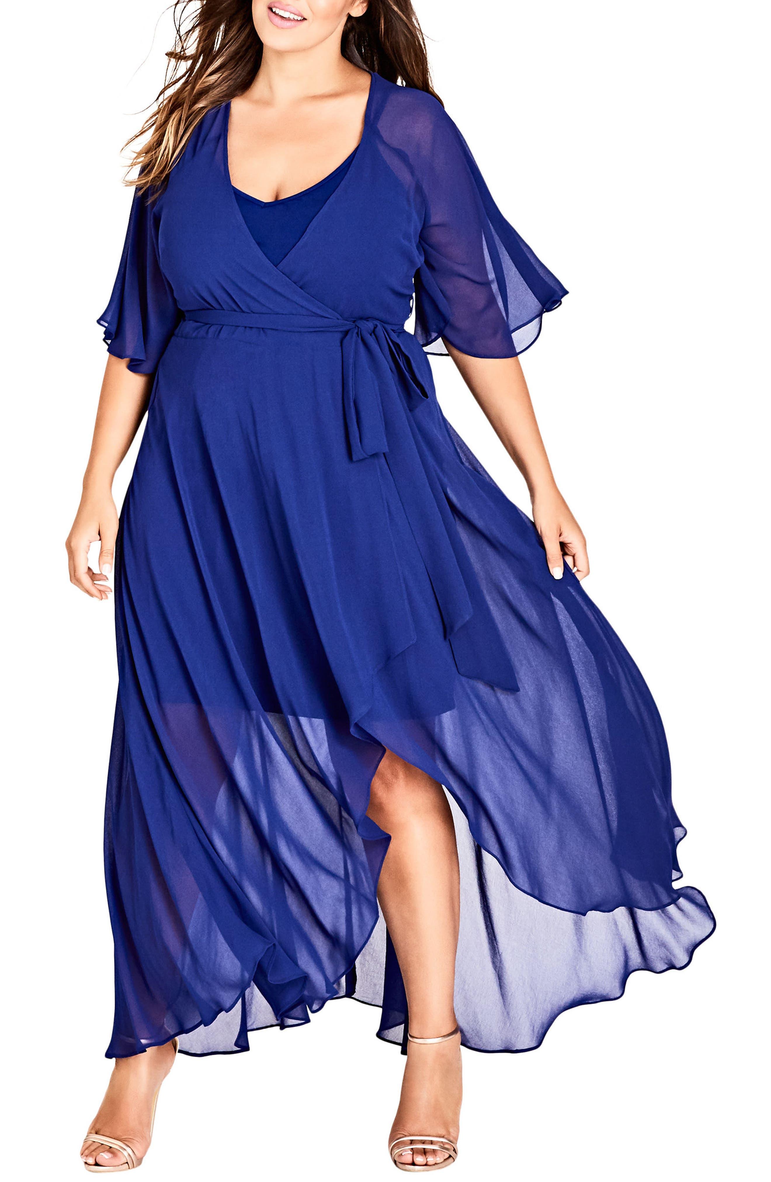 Plus Size City Chic Enthrall Me High/low Dress, Blue