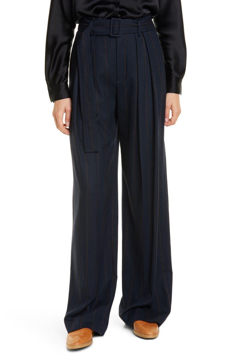 VINCE Belted Pinstripe Pants, Main, color, COASTAL