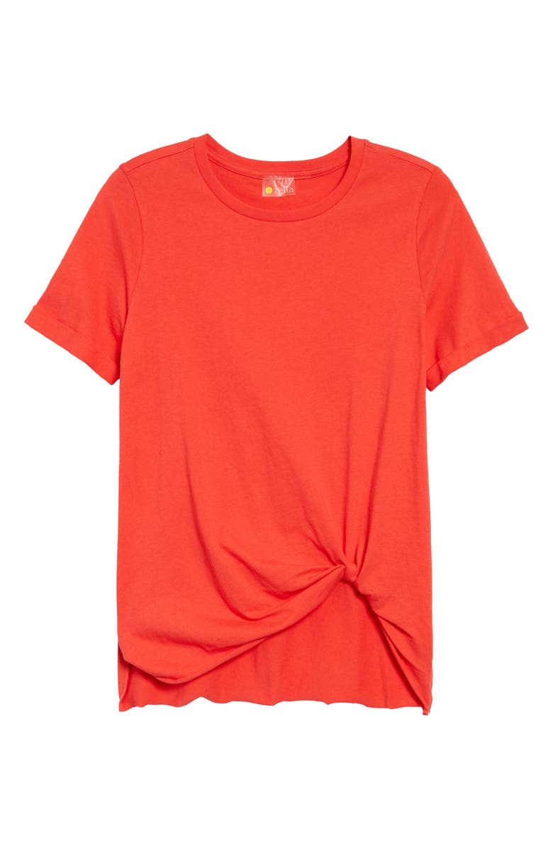 ZELLA Tuck Front T-Shirt, Main, color, RED HIBISCUS