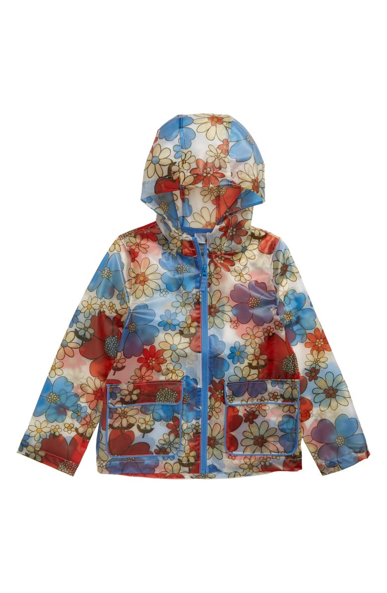 MINI BODEN Floral Print Translucent Waterproof Raincoat, Main, color, MUL JUMBO SIXTIES FLORAL