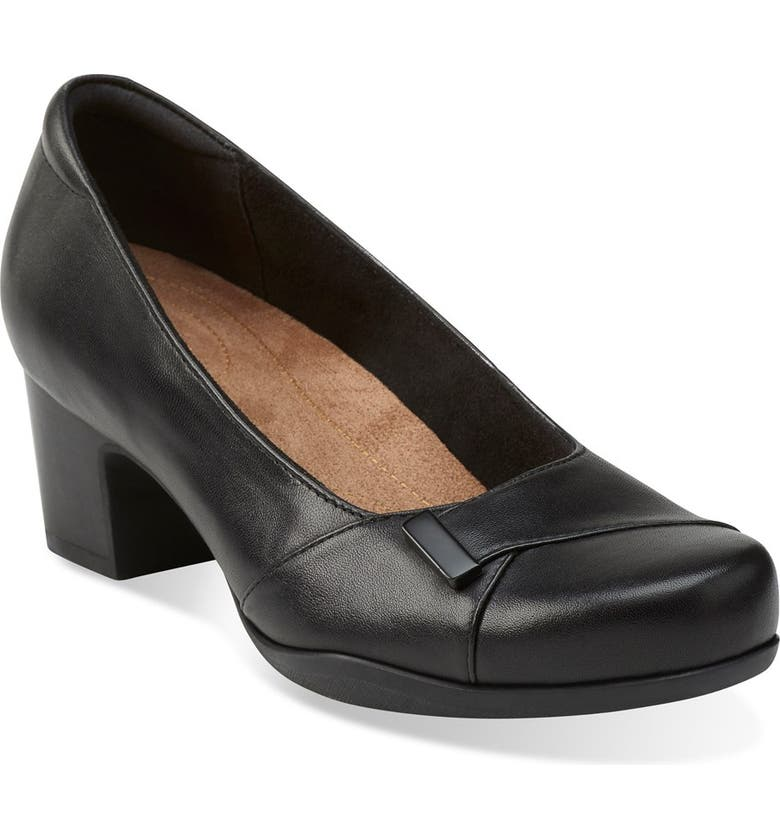 CLARKS<SUP>®</SUP> 'Rosalyn Belle' Pump, Main, color, BLACK LEATHER