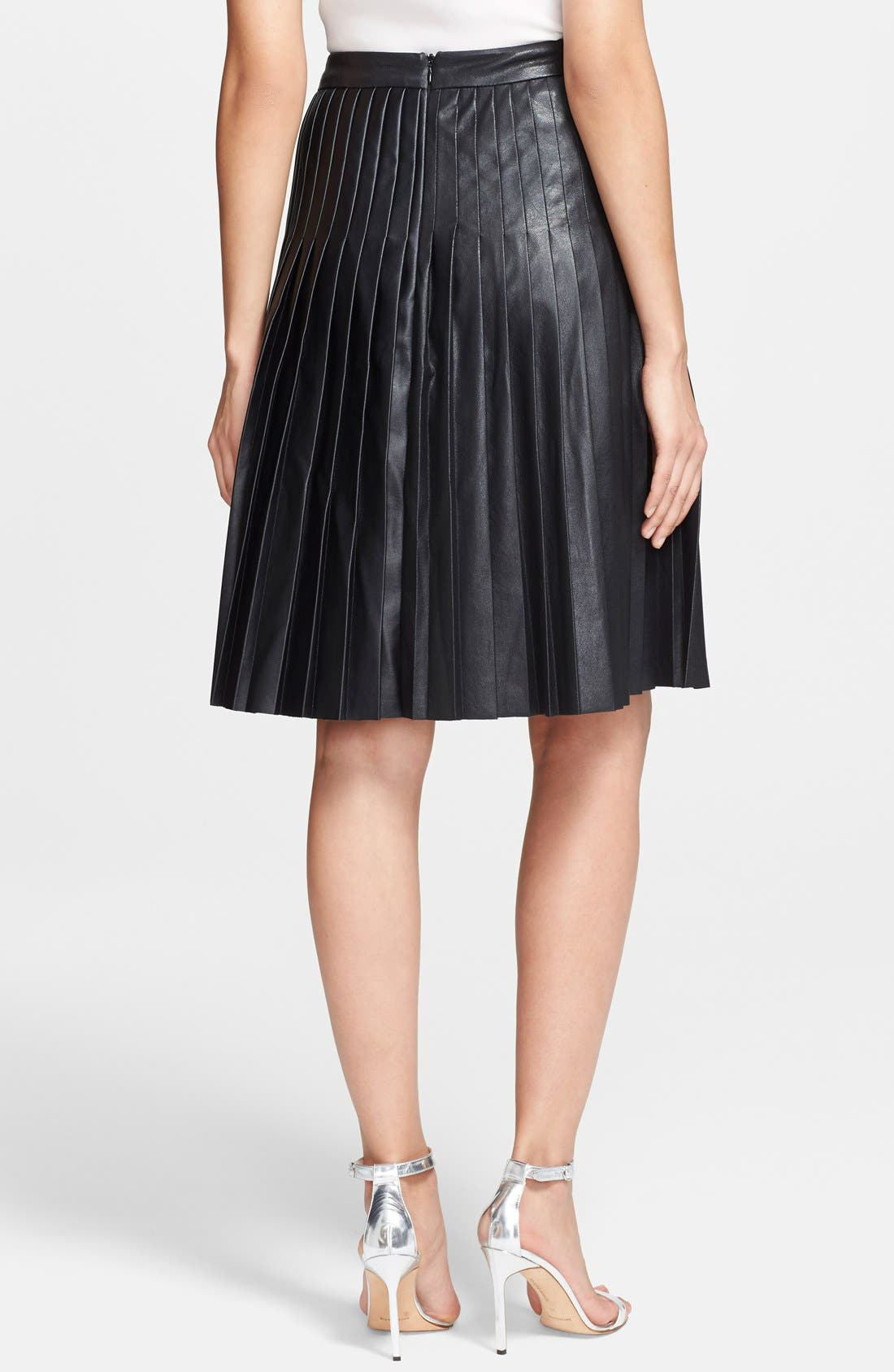 ,                             Pleated Leather Skirt,                             Alternate thumbnail 4, color,                             001
